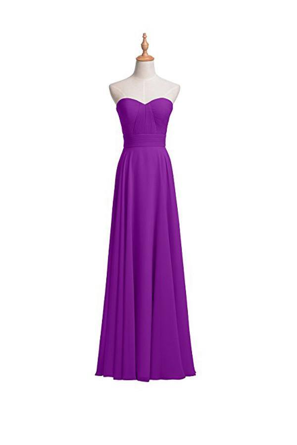 A-line Chiffon Bridesmaid Dress Floor Length Prom Evening Gown BD004 - Pgmdress