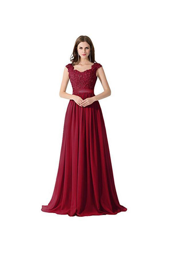 A-line Chiffon Lace Evening Gowns Prom Dresses Bridesmaid Dresses PG274 - Pgmdress