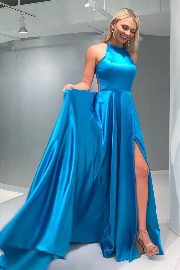 A-Line Crew Open Back Sweep Train Blue Prom Dress with Split-Pgmdress