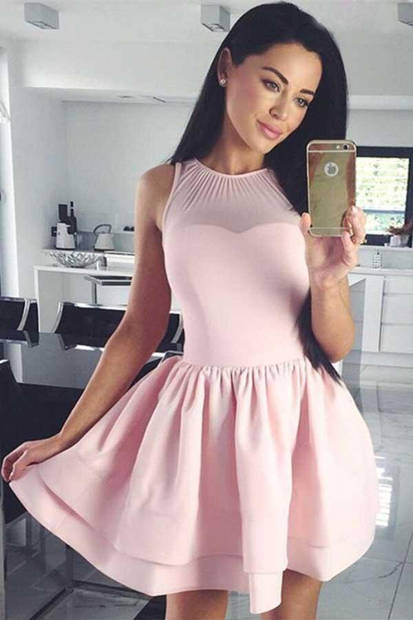 A-Line Crew Sleeveless Short Pink Tiered Satin Homecoming Dress PD087 - Pgmdress