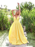 A Line Deep V Neck Backless Sweep Train Yellow Prom Dress PSK144 - Pgmdress