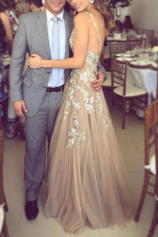 A-Line Deep V-Neck Tulle Prom/Formal Dress with Lace Appliques PG729 - Pgmdress