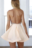 A-Line Halter Short Pink Chiffon Homecoming/Cocktail Dress with Sequins PD064 - Pgmdress