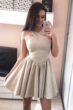 A-Line Halter Sleeveless Satin Short Prom Dress Homecoming Dresses PD051 - Pgmdress