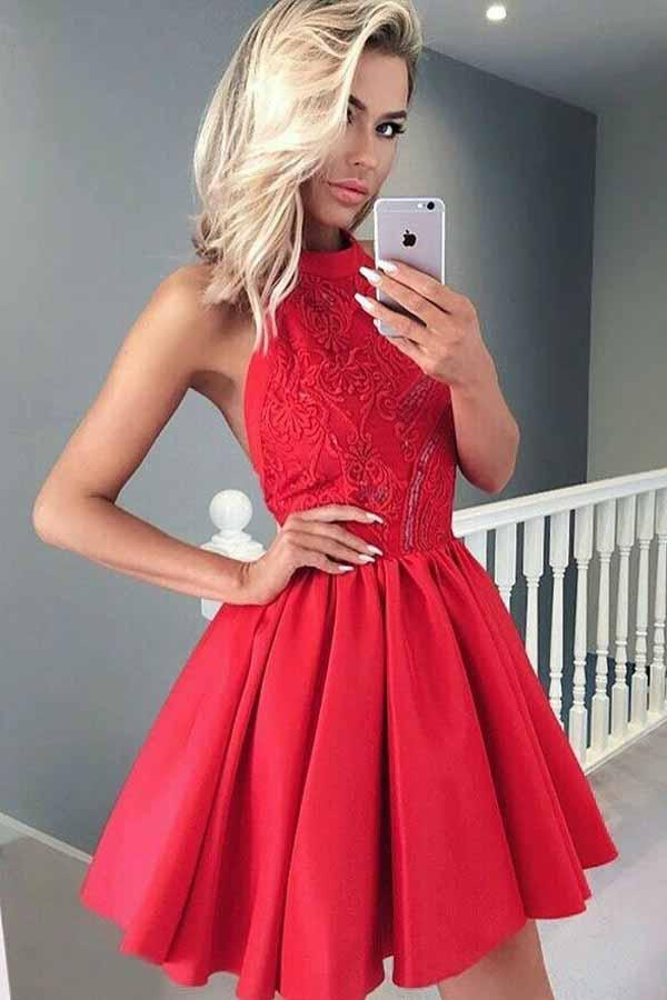 A-line Halter Sleeveless Short Red Satin Homecoming Dress with Lace  PD050 - Pgmdress