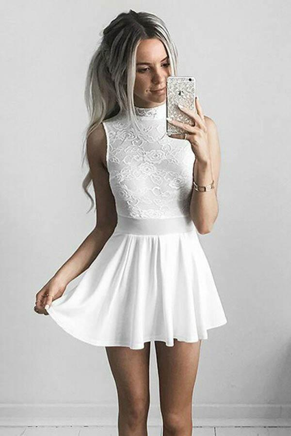 A-Line High Neck White Chiffon Homecoming Dress with Lace  PD011 - Pgmdress