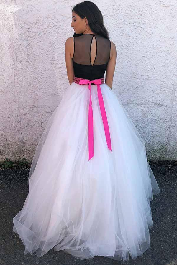 A-Line Hign Neck White Tulle Prom/Party Dress with Sash  PG639 - Pgmdress