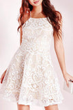 A-line Ivory Criss-Cross Straps Lace Sleeveless Homecoming Dress PD015 - Pgmdress