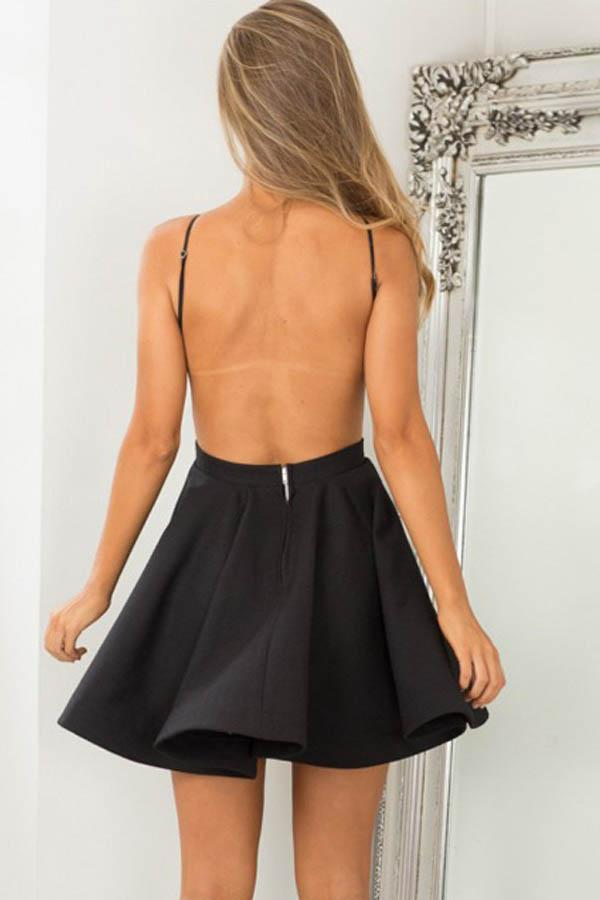 A-Line Jewel Sleeveless Backless Short Black Satin Homecoming Dress  PD012 - Pgmdress