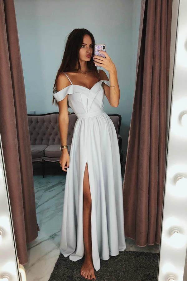 A-Line Off The Shoulder Grey Long Prom/Evening Dress With Side Split-Pgmdress
