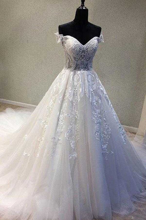 A-Line Off-the-Shoulder Short Sleeves Wedding Dress with Appliques WD226 - Pgmdress
