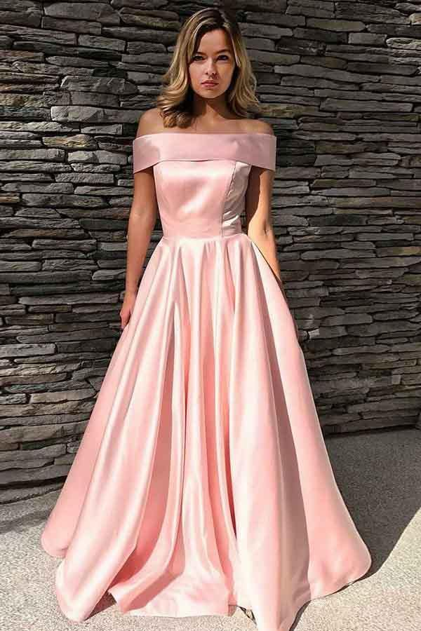 A-Line Off-the-Shoulder Sweep Train Pink Satin Prom Dress with Pockets PG668 - Pgmdress