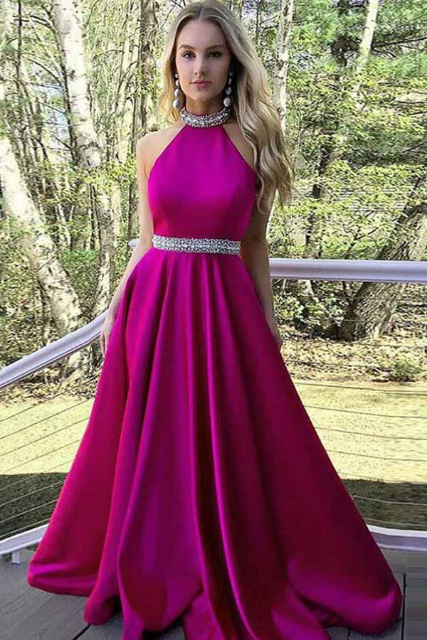 A-Line Pink Satin Open Back Sleeveless Prom Dress with Beading PG602 - Pgmdress