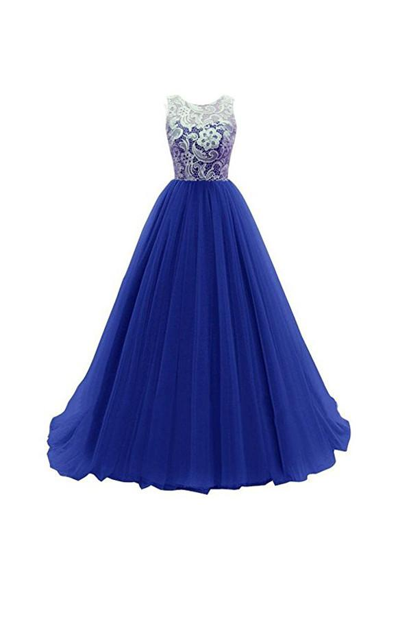 A-line Prom Dress lace bridesmaid long evening gowns  PG246 - Pgmdress