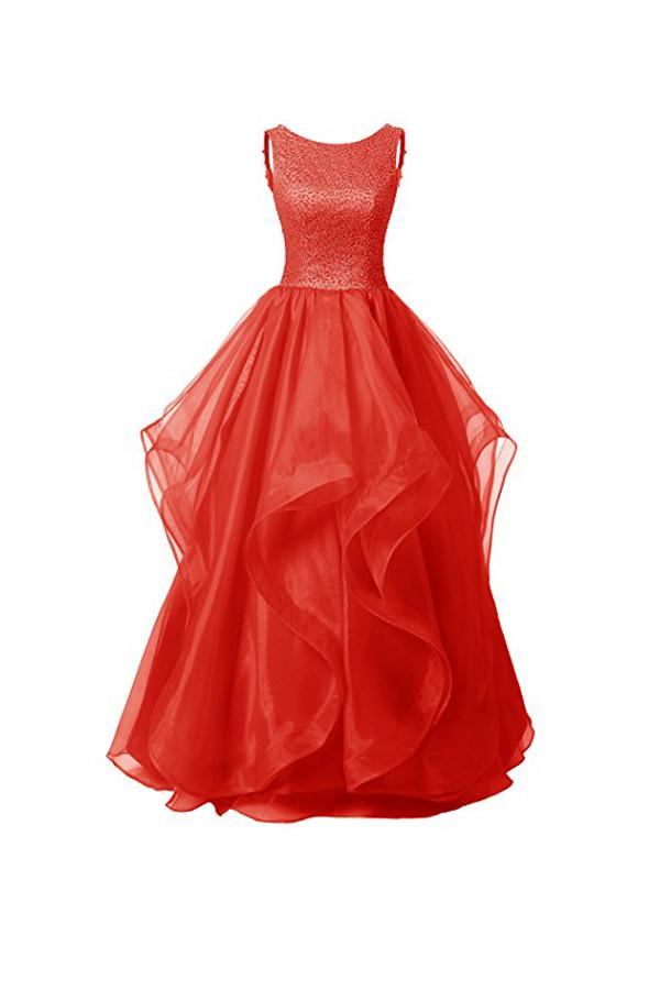 A-line Red Organza Asymmetric Bridesmaid Dress With Beading  BD027 - Pgmdress