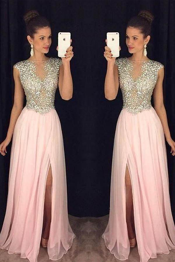 A Line Round Neck Pink Chiffon Split Long Prom Dresses with Beading PG765 - Pgmdress