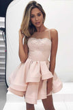 A-Line Round Neck Tiered Pink Satin Short Homecoming Dress with Lace PD080 - Pgmdress