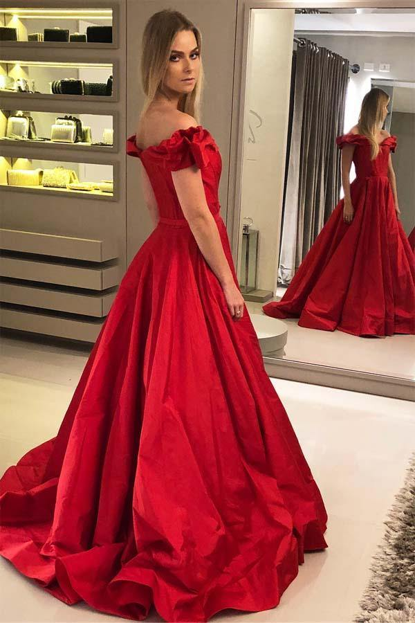 A-line Satin Off the Shoulder Ruched Long Red Prom/Evening Dress PG883 - Pgmdress