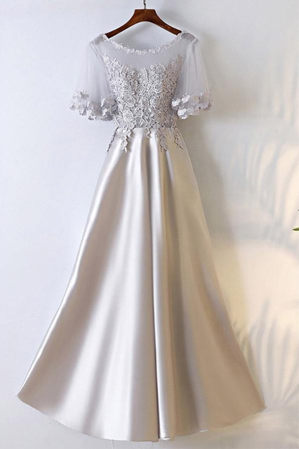 A-line Silver Satin Long Party Prom Dress With Illusion Neckline  PG689 - Pgmdress