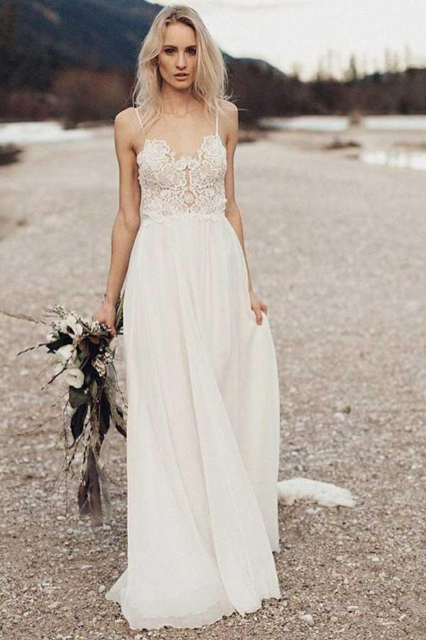 A-Line Spaghetti Straps Long Chiffon Wedding Dress with Lace WD259 - Pgmdress