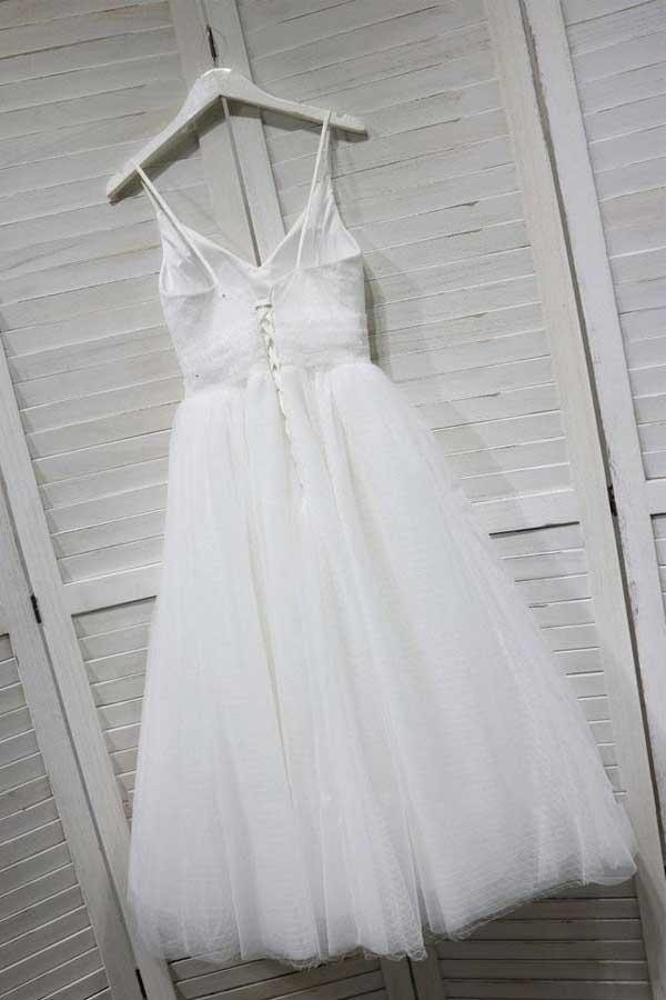 A-Line Spaghetti Straps White Homecoming/Prom Dress with Tulle PD154 - Pgmdress