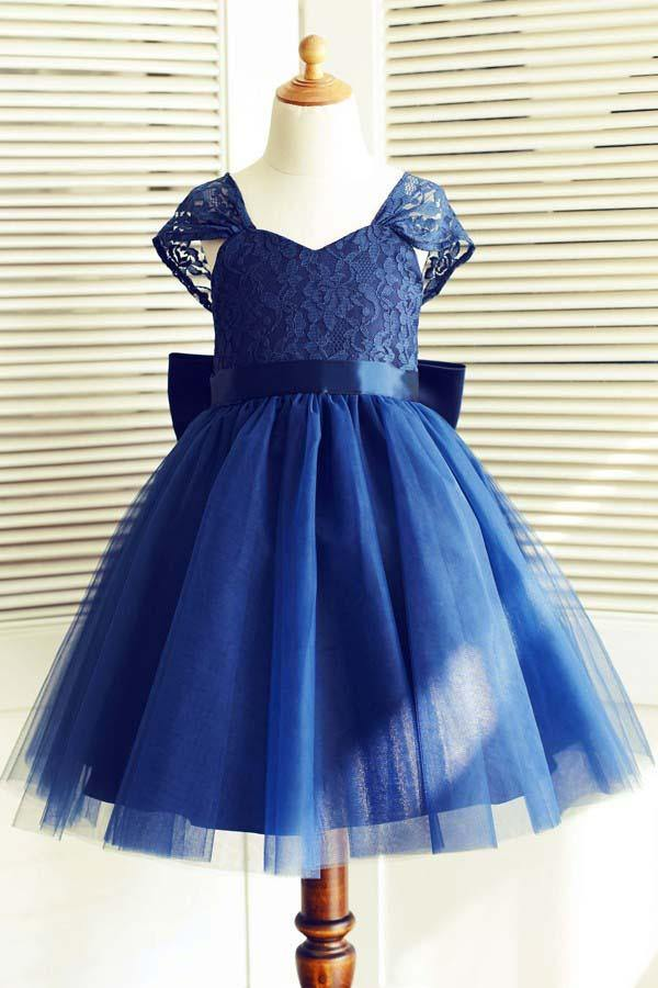 A-Line Square Knee-Length Navy Blue Tulle Flower Girl Dress  FL02 - Pgmdress