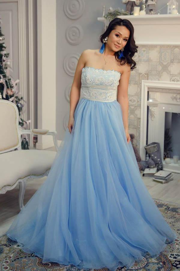 A-Line Strapless Floor-Length Light Blue Prom Dress with Lace Beading PG876 - Pgmdress