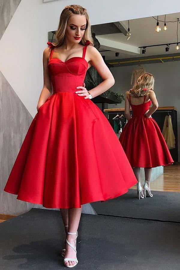 A-Line Straps Mid-Calf Red Satin Homecoming Dress with Pockets PD057 - Pgmdress