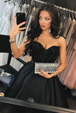 A-Line Sweetheart Navy Blue Satin Prom Dress with Beading  PG573 - Pgmdress