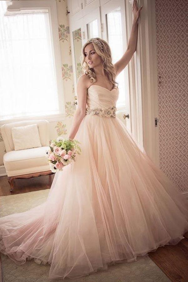A-line Sweetheart Strapless Pink Long Tulle Wedding Dress  WD235 - Pgmdress
