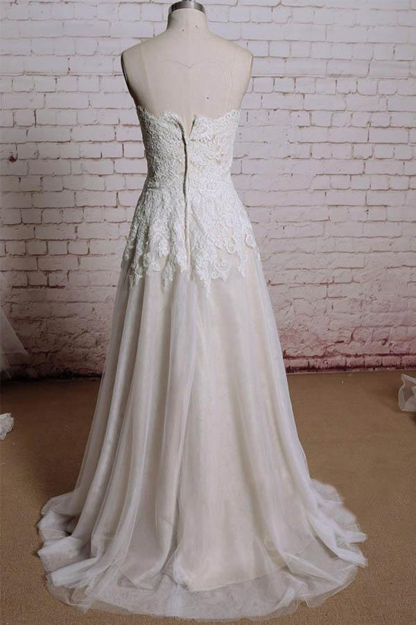 A-line Sweetheart Sweep Train Tulle Appliques Cheap Wedding Dresses WD174 - Pgmdress