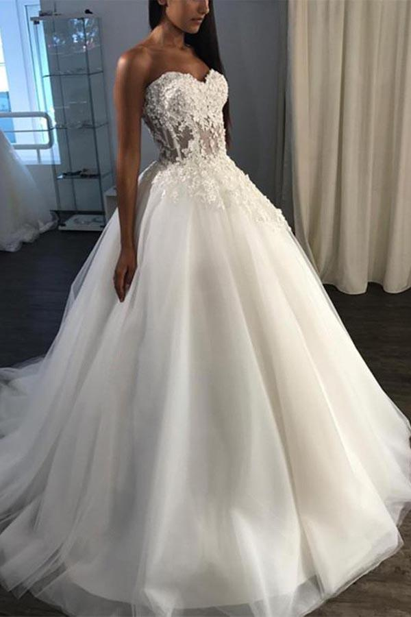 A-Line Sweetheart Sweep Train Tulle Appliques Wedding Dress  WD227 - Pgmdress