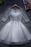 A-line Tulle Homecoming Dresses Scoop Short/Mini Prom Dresses  PD047 - Pgmdress