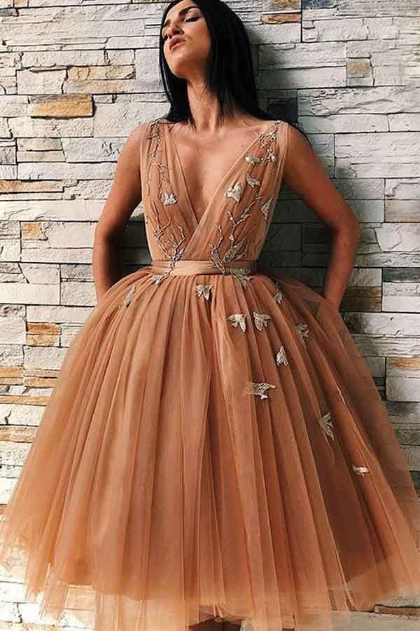 A-Line V-Neck Backless Gold Tulle Homecoming Dress with Appliques  PD227 - Pgmdress