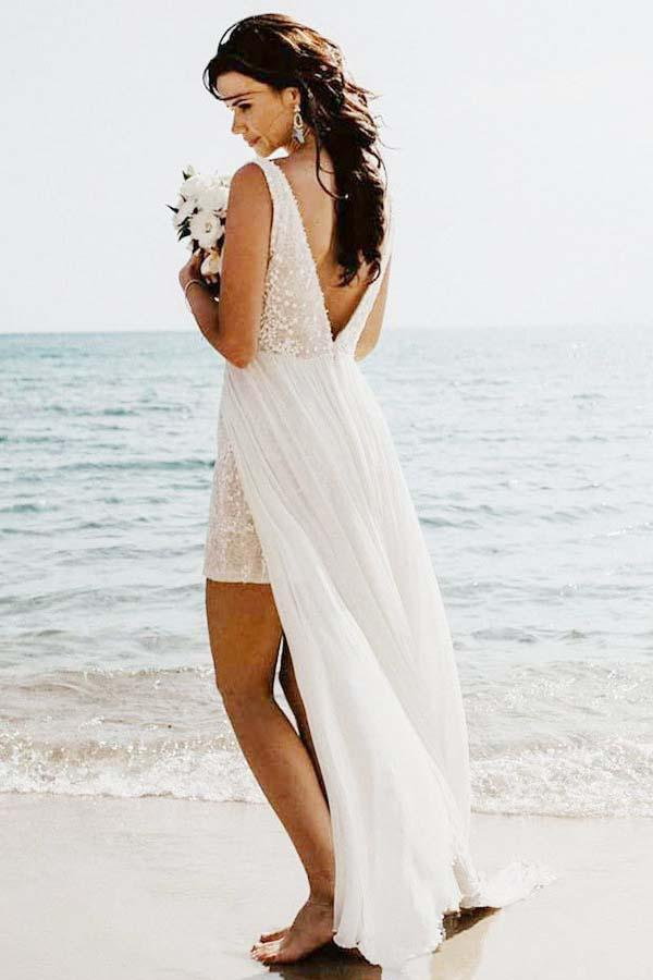 A-Line V-Neck Detachable Train Long Beach Wedding/Bridal Dress WD264 - Pgmdress