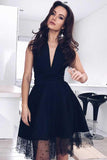 A-Line V-Neck Knee-Length Black Homecoming Dress with Beading PD037 - Pgmdress