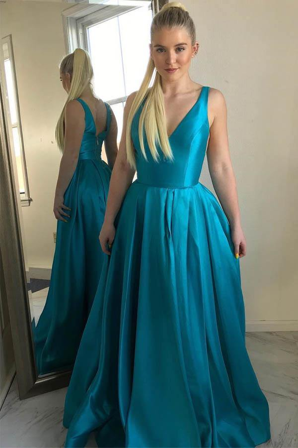 A-line V Neck Satin Simple Prom Dresses Formal Dress-Pgmdress