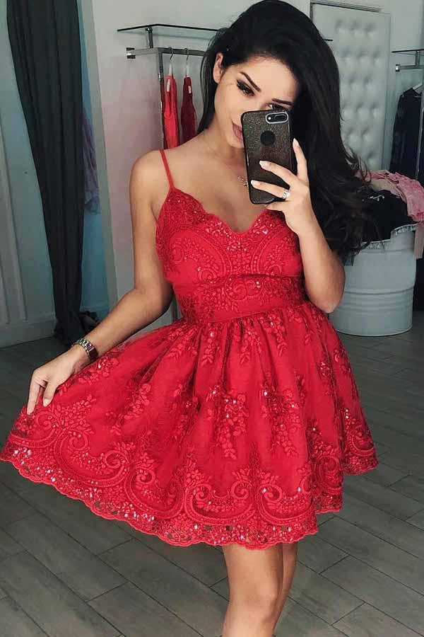 A-Line V-Neck Short Red Tulle Homecoming Dress with Appliques Beading PD082 - Pgmdress