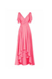 A-line V-neck Short Sleeves Floor Length Chiffon Bridesmaid Dress BD014 - Pgmdress
