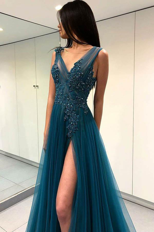 A-Line V-Neck Split Turquoise Tulle Prom Dress with Appliques Beading PG763 - Pgmdress