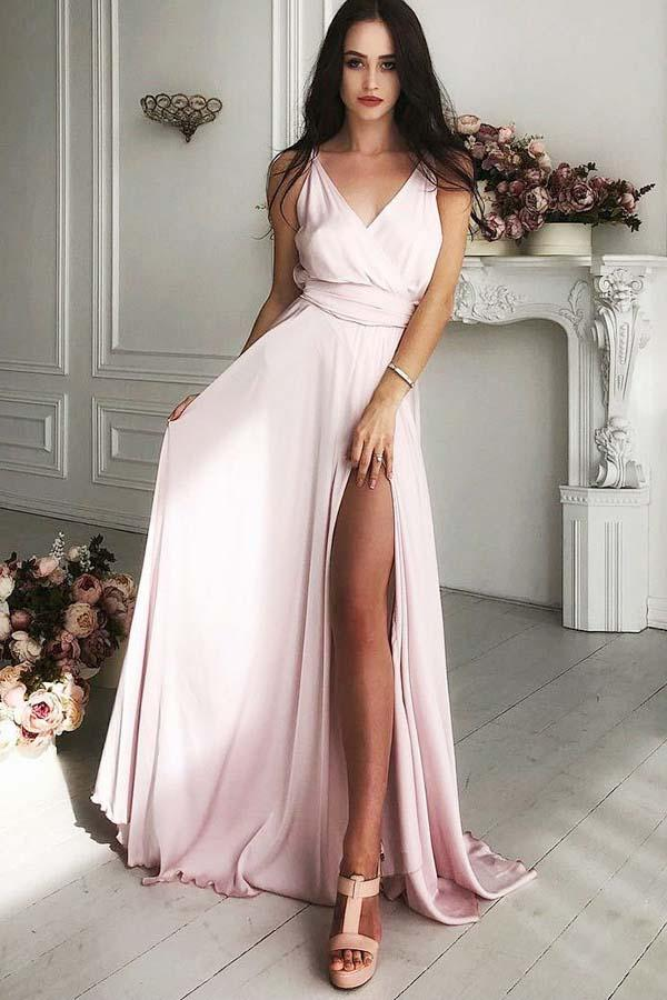 A-Line V-Neck Sweep Train Pink Satin Prom Dress with Split PG657 - Pgmdress
