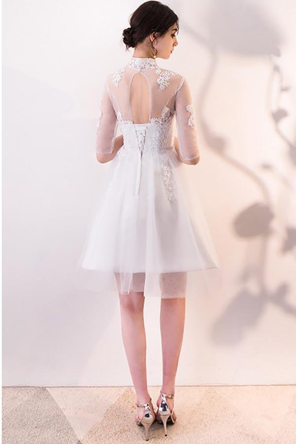 A-line White Lace and Tulle Homecoming Dresses Party Dress with Sleeves PD062 - Pgmdress