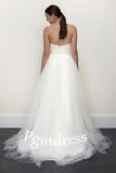 A-line White Lace  Grey Tulle Strapless Sweetheart Neck Wedding Dress WD071 - Pgmdress