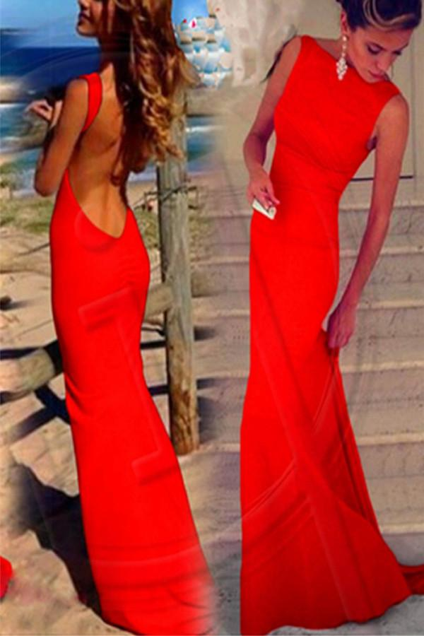 Backless Sheath Chiffon Long Prom Dresses Evening Dresses  PG 234 - Pgmdress