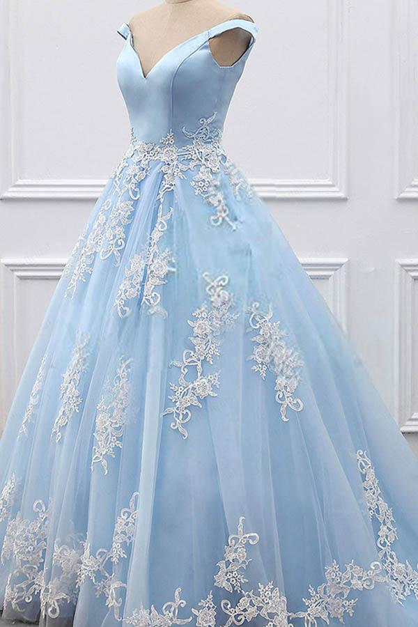 Ball Gown Off-the-Shoulder Court Train Blue Tulle Prom Dress  PG483 - Pgmdress
