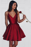 Burgundy Cute Simple Spaghetti Straps Homecoming Dress Party Dress PG125 - Pgmdress