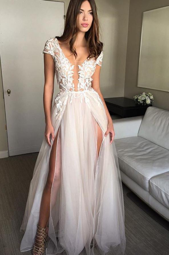 Cap Sleeve Deep V-neck Prom Dress With Appliques Sexy Split Wedding Dresses-Pgmdress