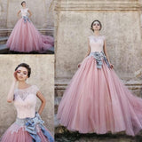 Cap Sleeves Ball-Gown Lace Bowknot Pink  Tulle Wedding Dresses WD074 - Pgmdress
