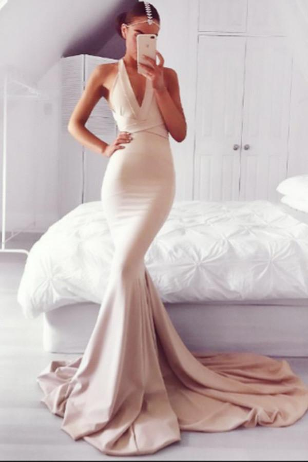 Charming Mermaid Blush Prom Dress Sexy Backless Prom Dress PG374 - Pgmdress