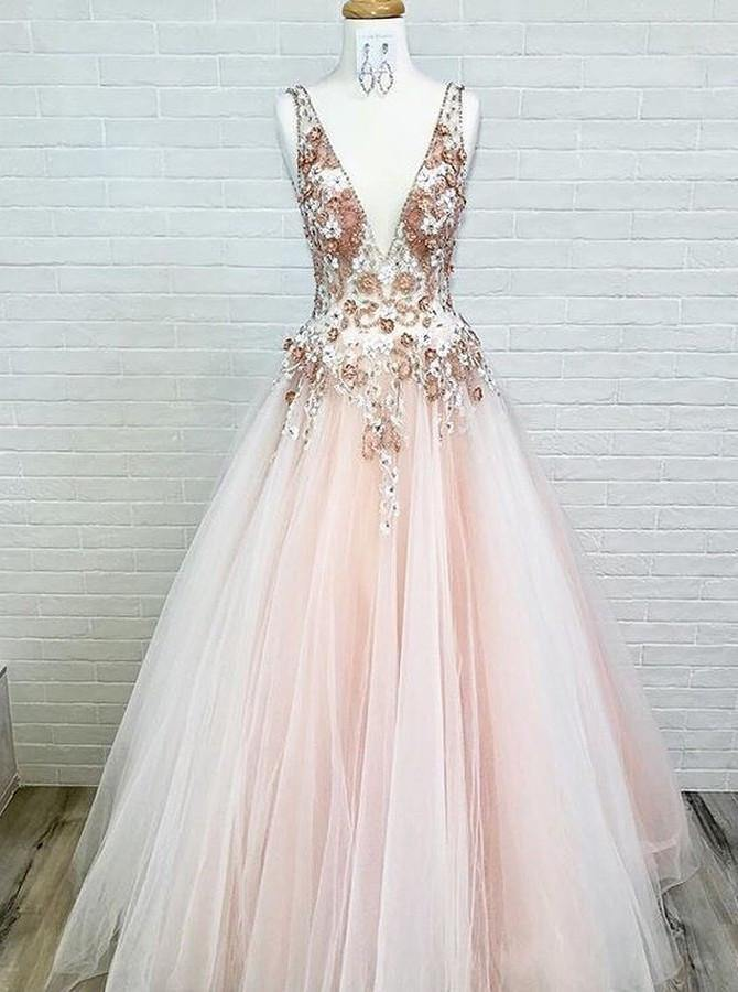 Charming V-Neck Floor-Length Pink Tulle Prom Dress with Appliques Beading-Pgmdress